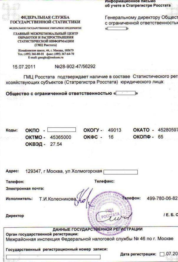 Сертификат получения кодов ОКВЭД