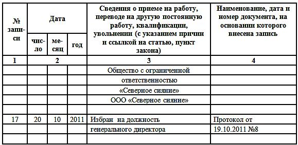 Запись в трудовой о переводе на должность генерального директора