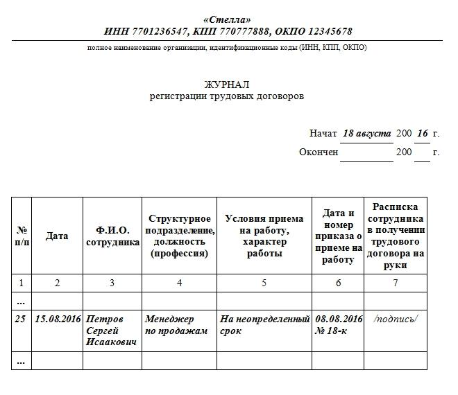 пример заполненного журнала регистрации трудовых договоров