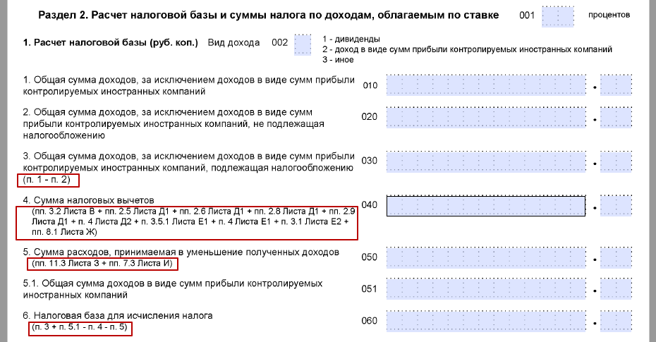 Образец заполнения налоговой декларации 3-НДФЛ