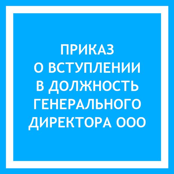 Приказ о вступлении в должность генерального директора ООО: образец 2019 года