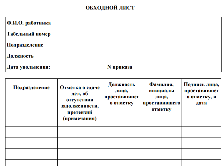 Обходной лист для производства