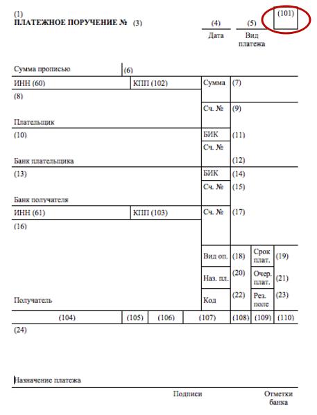 Статус составителя (поле 101) в платежном поручении 2019 года