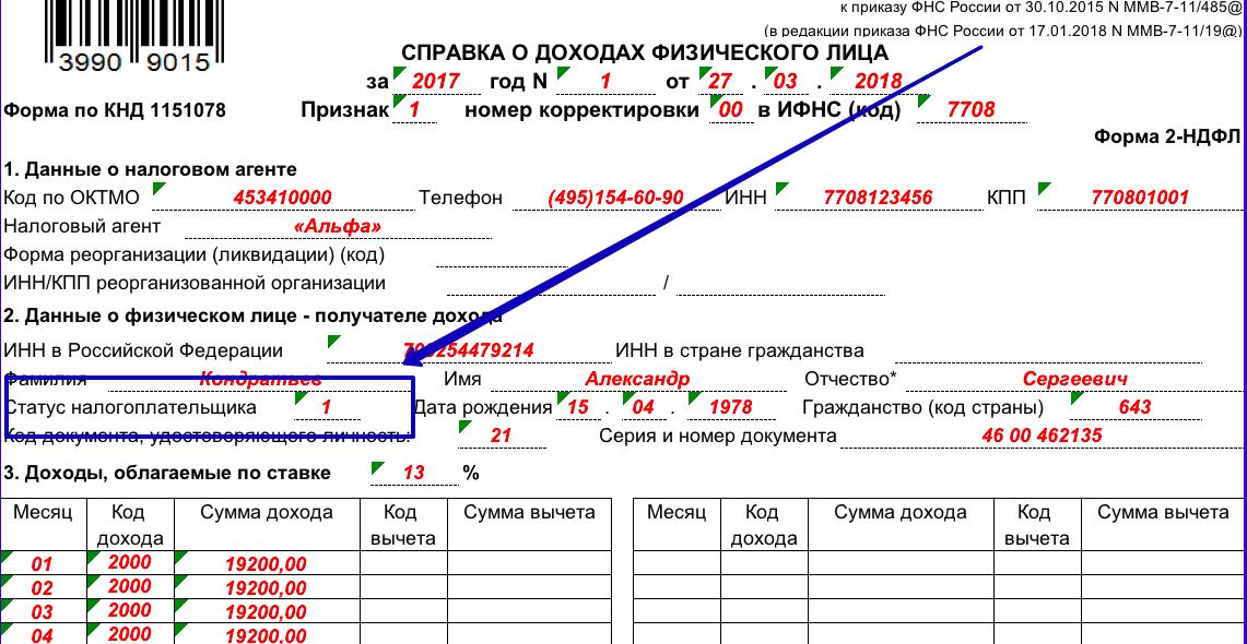 В справке 2 ндфл статус налогоплательщика документы для кредита Академика Виноградова улица