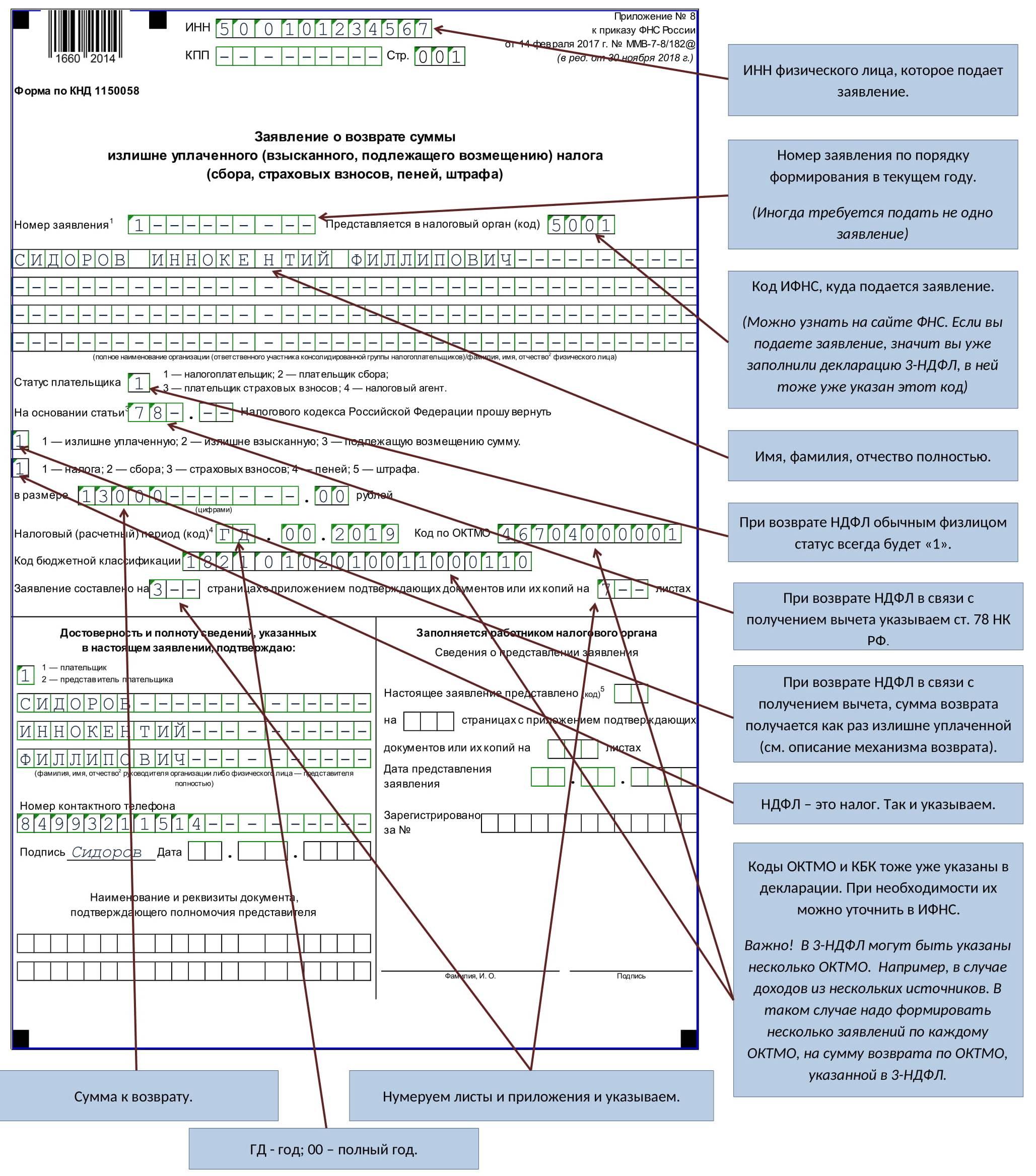 Образец заполнения заявления на возврат ндфл за лечение 2021